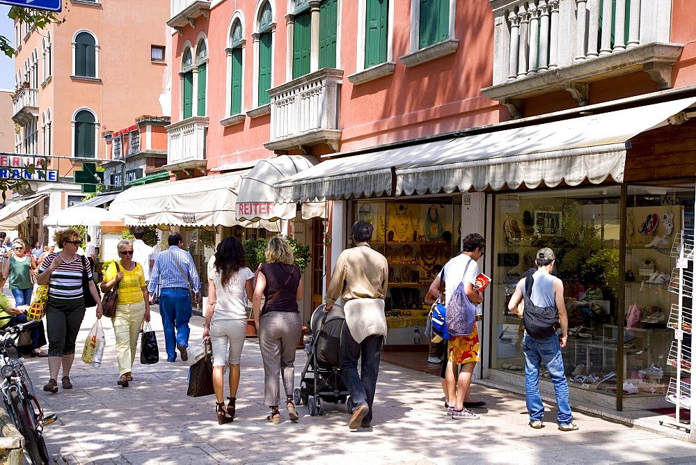 Shops on the main street Gran Viale, Lido, Venice, Venetian Lagoon, Italy, Europe