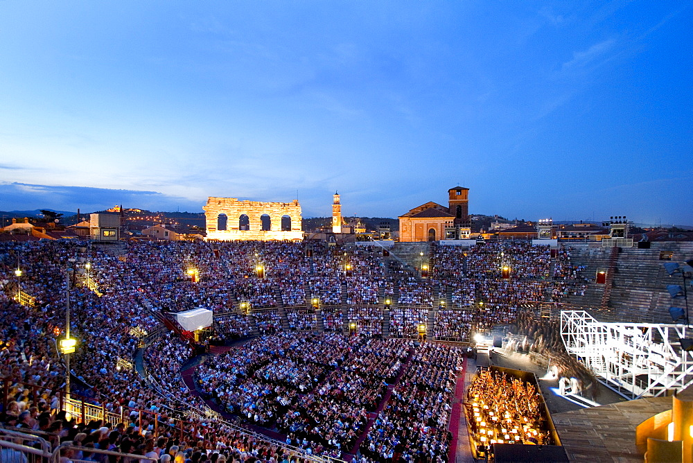 Spectators sitting on the tribune watching an opera, arena, Verona, Venice, Italy, Europe