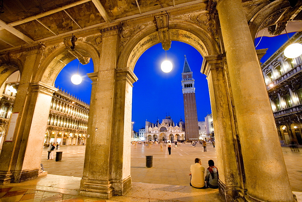 View through arcades towards Basilica di San Marco, St. Mark's Basilica and Campanile, evening mood, Venezia, Venice, Italy, Europe - 832-351869
