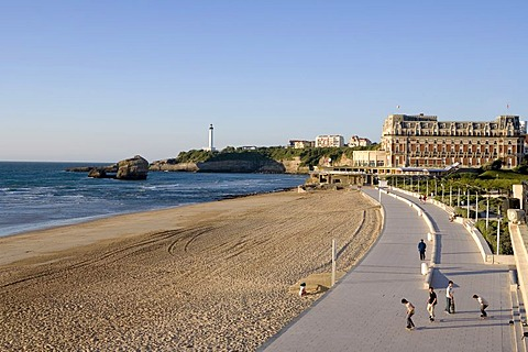 La Grande Plage Beach and Hotel du Palais, Biarritz, Basque country, Southern France, France, Europe