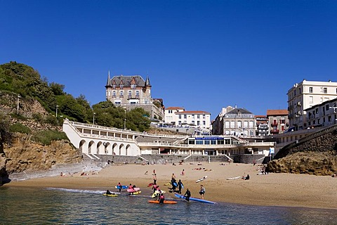 Surfers in the historic harbour, Port Vieux, Biarritz, Basque country, Southern France, France, Europe