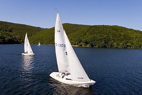Sport boats on the Rurtalsperre lake, Eifel, North Rhine-Westphalia, Germany, Europe