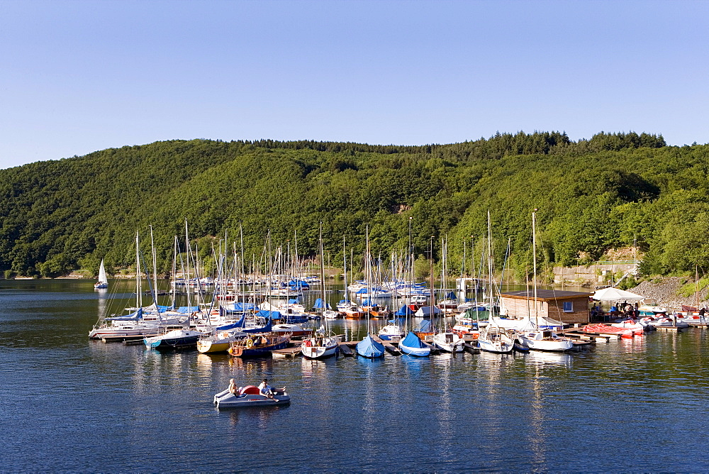 Boats docked at the marina Schwammenauel, Rurtalsperre, Eifel, North Rhine-Westphalia, Germany, Europe