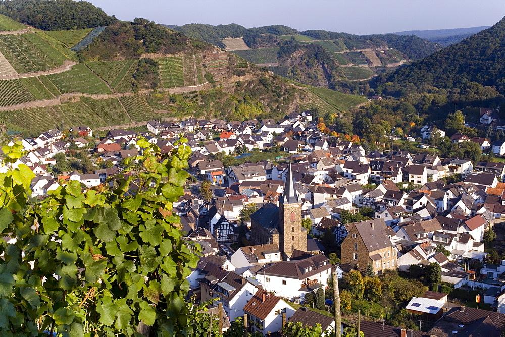 View of Dernau, vineyards, Ahrtal Valley, Eifel Range, Rhineland-Palatinate, Germany, Europe