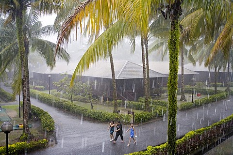 Holiday Inn Hotel during monsoon rains, Damai Beach, Sarawak, Borneo, Malaysia, Southeast Asia