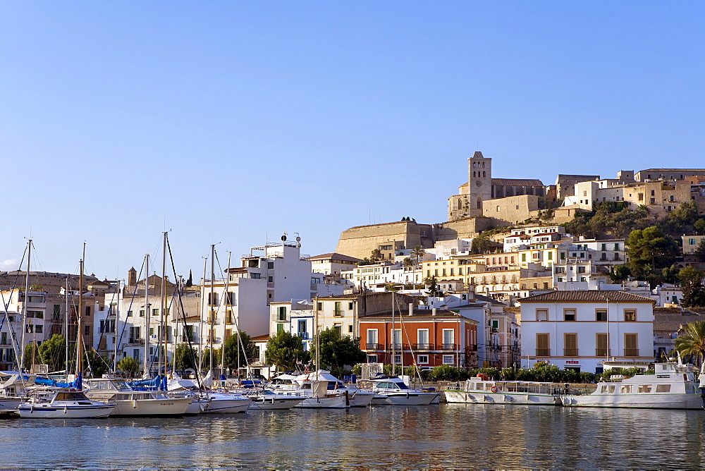 View over the harbour of the historic centre of Dalt Vila, Ibiza, Balearic Islands, Spain, Europe