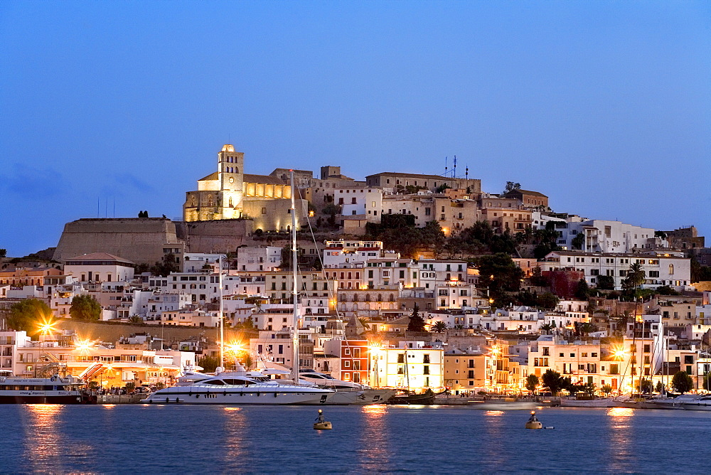 View over the harbour of the illuminated historic centre of Dalt Vila, Ibiza, Balearic Islands, Spain, Europe