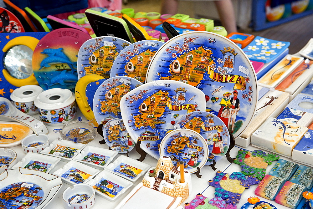 Souvenirs of a shop in the historic centre of Dalt Villa, Ibiza, Balearic Islands, Spain, Europe