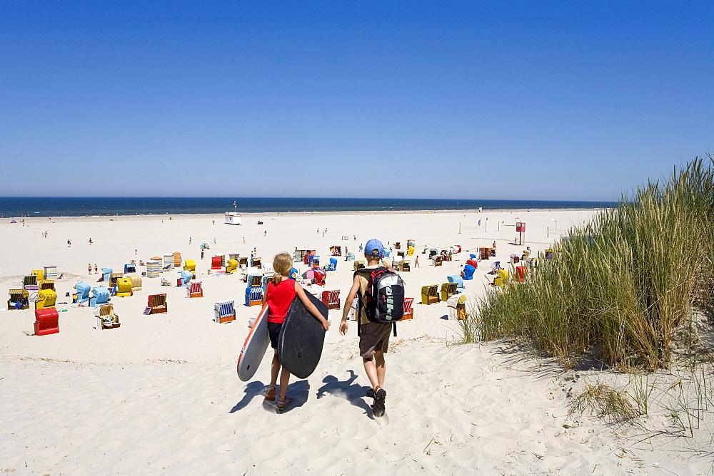 Dunes and beach chairs on the main beach of Juist Island, East Frisian Islands, East Frisia, Lower Saxony, Germany, Europe