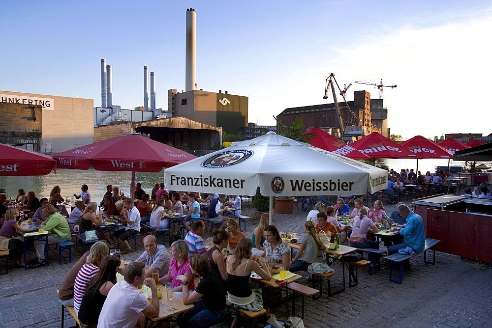 Restaurant at Kreativkai docks, Muenster, North Rhine-Westphalia, Germany, Europe