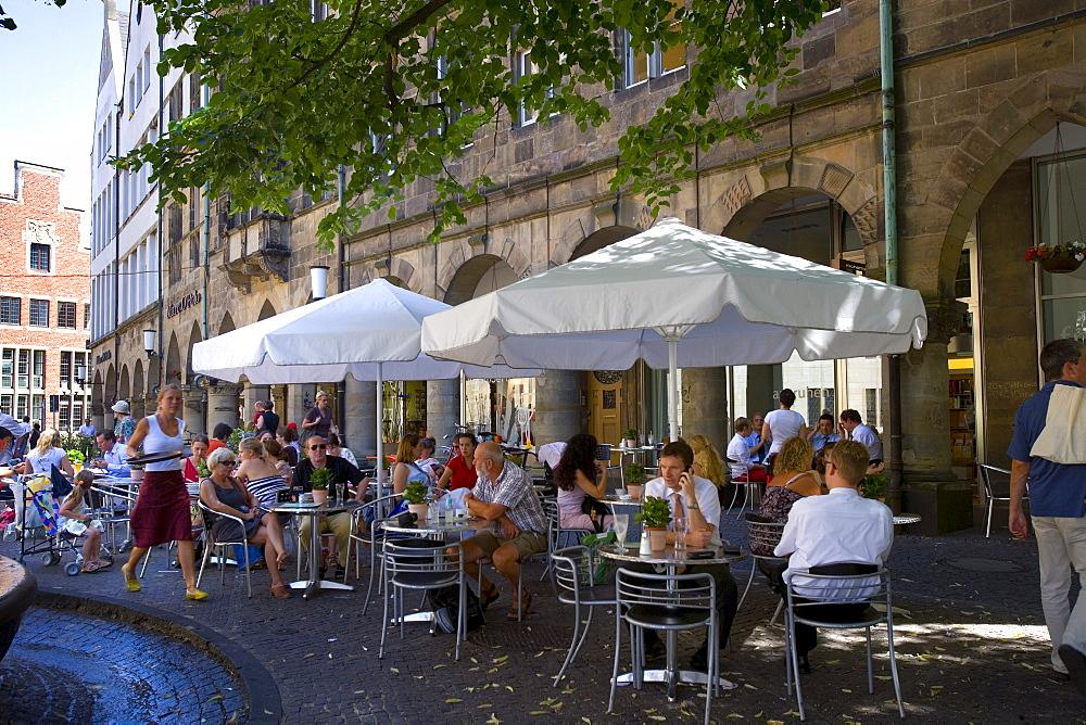 Restaurant on Lambertikirchplatz, Muenster, North Rhine-Westphalia, Germany, Europe