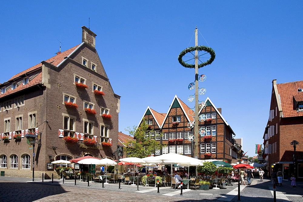 Restaurants at Spiekerhof, Muenster, North Rhine-Westphalia, Germany, Europe