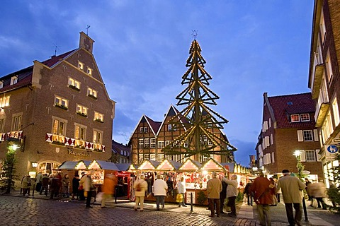 Christmas market at Kiepenkerl, Spiekerhof, Muenster, North Rhine-Westphalia, Germany, Europe
