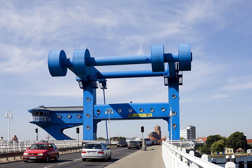Peenebruecke Bridge in Wolgast, Baltic Sea, Mecklenburg-Western Pomerania, Germany, Europe