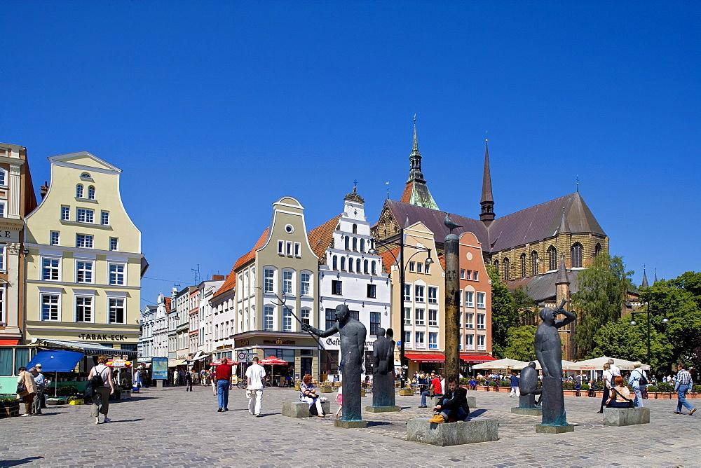 St. Mary's Church on the market square, Rostock, Mecklenburg-Western Pomerania, Germany, Europe