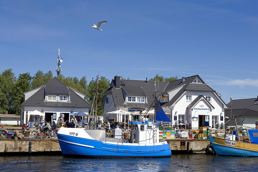 Ship in the harbour, Vitte, Hiddensee Island, Baltic Sea, Mecklenburg-Western Pomerania, Germany, Europe