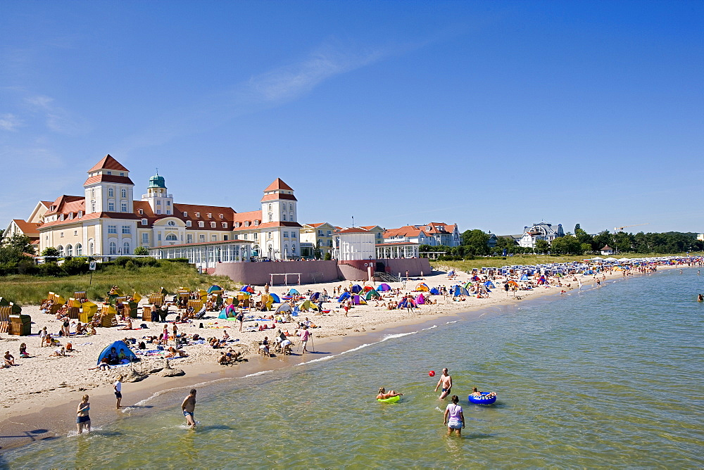 People at the beach and the Kurhaus, Binz, Ruegen, Baltic Sea, Mecklenburg-Western Pomerania, Germany, Europe
