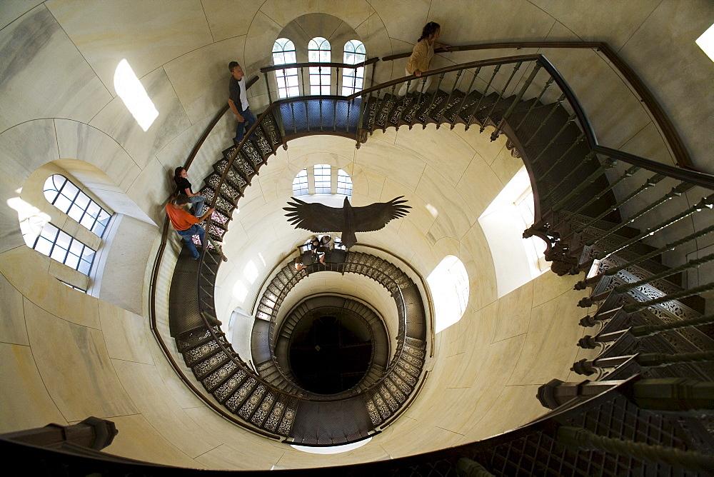 Spiral staircase in the Granitz Hunting Lodge, Lancken-Granitz, Ruegen, Mecklenburg-Western Pomerania, Germany, Europe