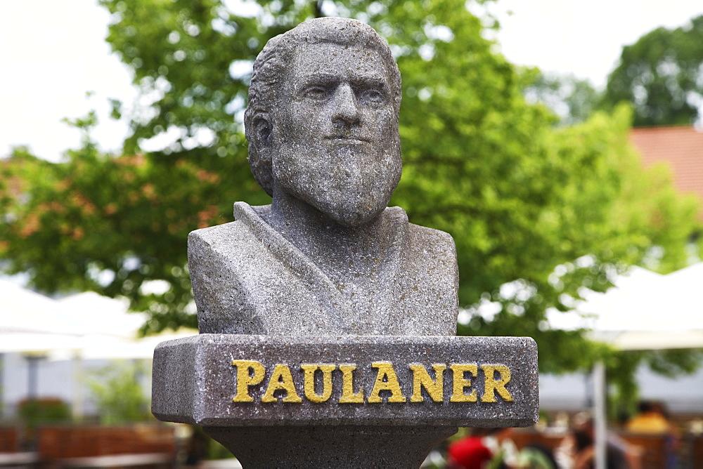 Paulaner bust, Munich Viktualienmarkt, Bavaria, Germany, Europe