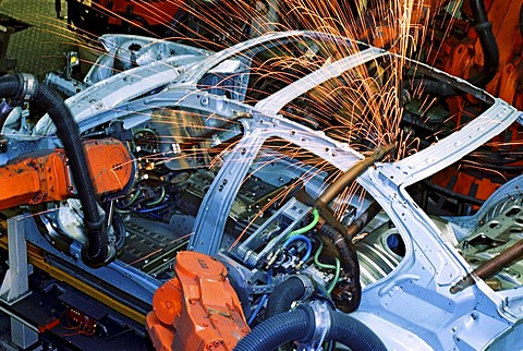 Industry robot robotics spot welding car production at BMW in Munich Bavaria Germany - 832-353097