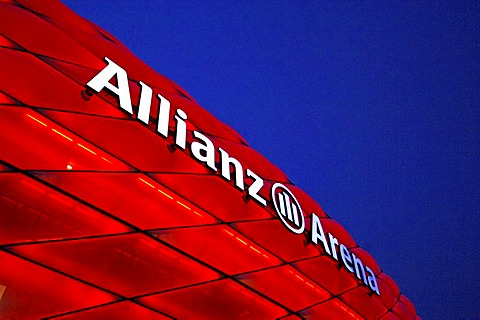 Soccer stadium Allianz Arena at night Munich Germany