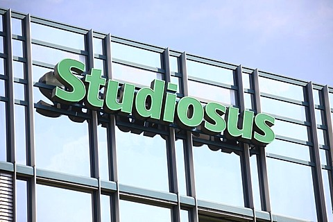 Company sign of German tour operator Studiosus on an office building, Munich