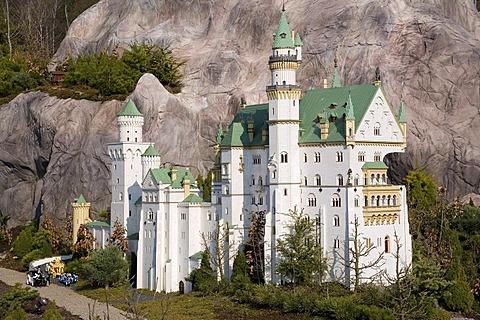 Neuschwanstein Castle made of Lego bricks, Legoland Park near Guenzburg, Germany