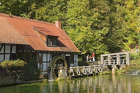 An old water mill near the Blautopf Spring, Blaubeuren, Baden-Wuerttemberg, Germany