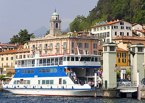 A ferry boat arrives in Bellagio, Lake Como, Italy