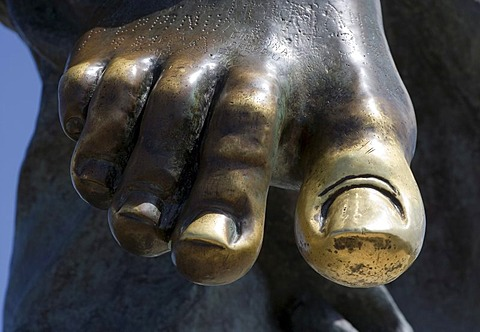A foot of the saviour statue on the Monte Ortobene Mountain, near Nuoro, Sardinia, Italy