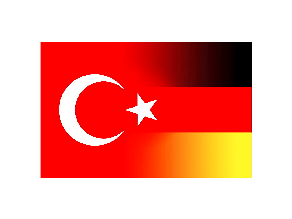 Symbolic image of the German and Turkish flags fusing
