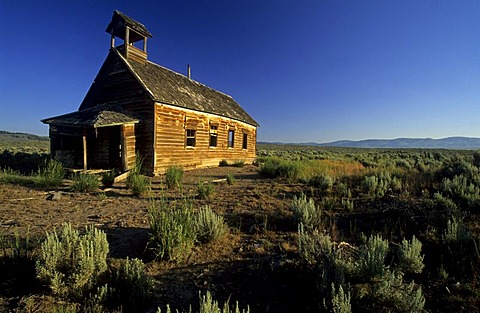 Historic school house of Silvies, Ponderosa Ranch, Oregon, USA