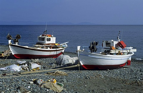 Fishing boats on the beach, Samothraki Islands, Thrakia, Greece