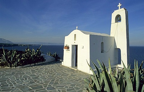 Small white church on the coast, Rafina, Sterea Ellada, Greece