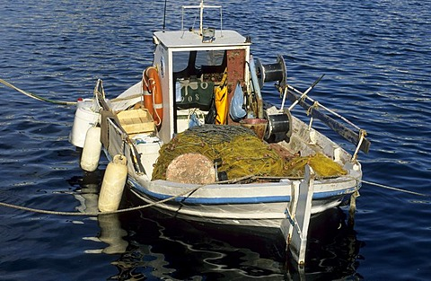 Classical greek fishing boat, Kaiki, Poros island, saronian islands, Greece