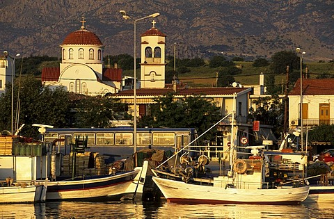 Fishingboats in the harbour of Kamariotissa, Samothraki island, Thrakia, Greece
