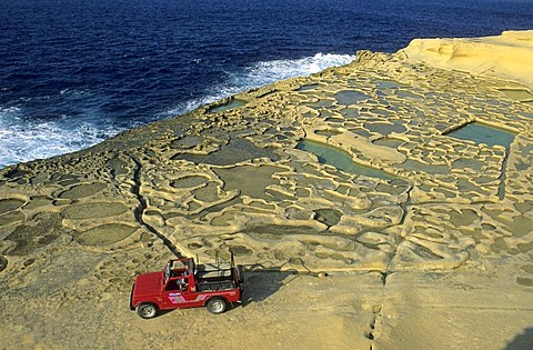 Historic saltworks at Reqqa Point, Gozo island, Malta