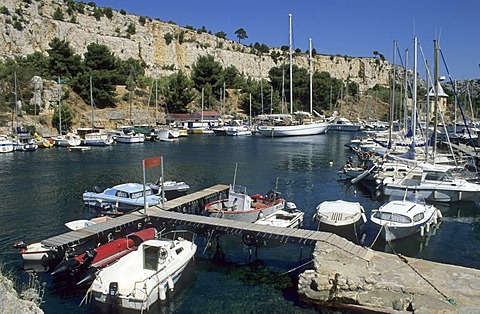 Boats in the harbour of Calanque de Port Miou, Provence, France