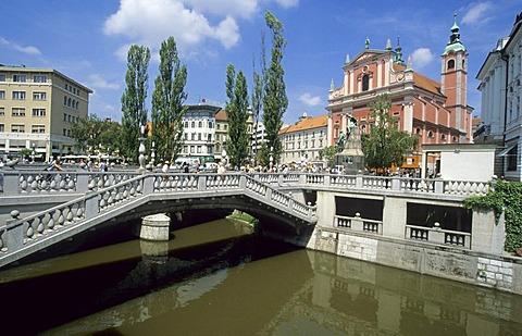 Preseren square and old houses along the Ljubljanica, Ljubljana, Slovenia