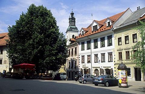 Square in the historic center of Skofja Loka, Gorenjska region, Slovenia