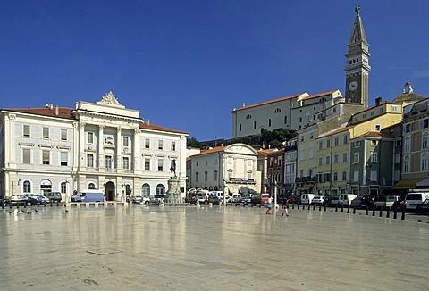 Tartini square, main square in the historic center of Piran, Primorska region, Slovenia