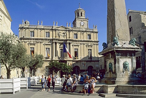 Main square in the historic center of Arles, Provence, France