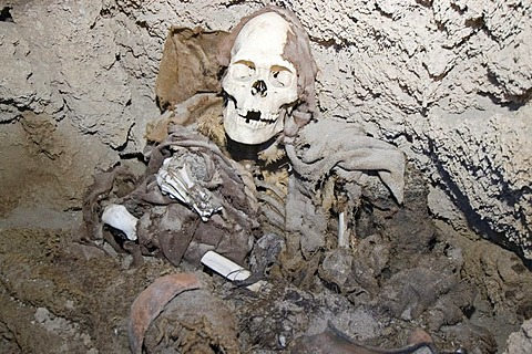 Mummy in a cave at San Juan del Rosario, Bolivia