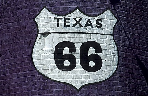 Sign of the historic route 66 in Amarillo, Texas, USA - 832-355443