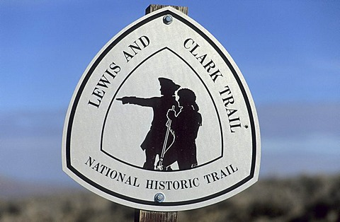 Trail marker of the Lewis and Clark National Historic Trail, Montana, USA