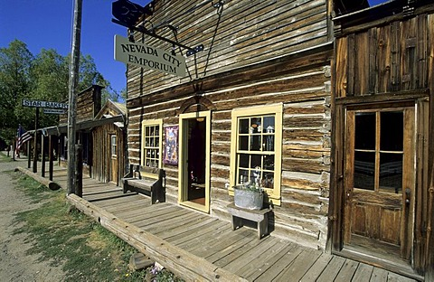 Historic building with shop in Nevada City, Montana, USA
