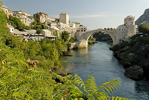 Historic Old Town of Mostar at Neretva river, Unesco World Heritage Site, Bosnia and Herzegovina