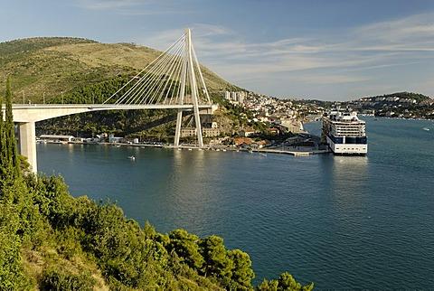 Cruise ship in the harbor of Dubrovnik (Ragusa), Dalmatia, Croatia