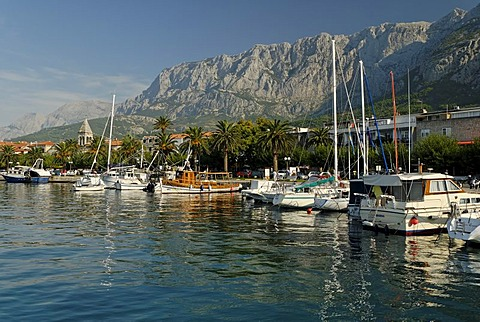 Historic city of Makarska at the Biokovo mountains, Dalmatia, Croatia