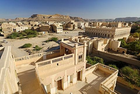 Al-Kaff Palace Isch Schaa, holy city of Tarim, Wadi Hadramaut, Yemen